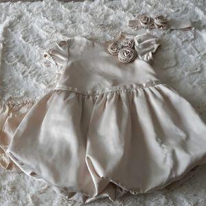 Baby girl janie and jack ivory satin bubble dress